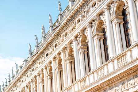 nuove: Facade fragment of Marciana library on the central square in Venice Stock Photo