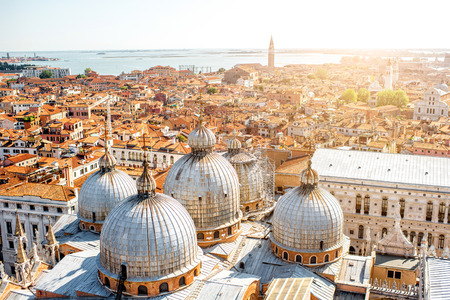 saint marks: Aerial view on Venice with domes of Saint Marks basilica