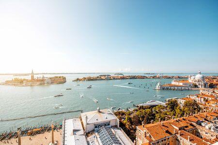 campanille: Aerial view on San Giorgio Maggiore island from San Marks Campanille in Venice
