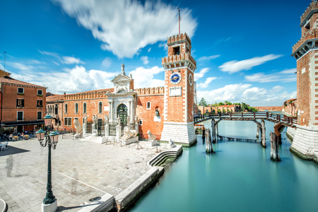 technic: Venetian Arsenal in Castello region in Venice. Long exposure image technic with motion blurred clouds