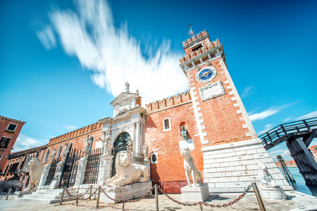 Venetian Arsenal in Castello region in Venice. Long exposure image technic with motion blurred clouds