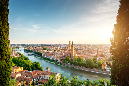Panoramic aerial view on Verona old town from the castle hill on the sunset