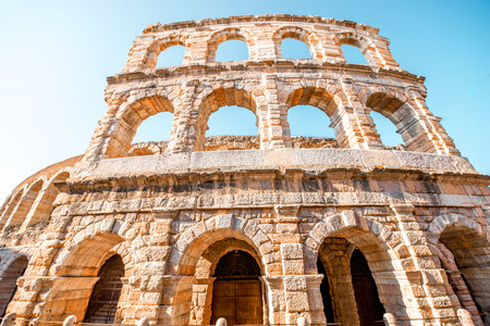 Architectural fragment of Arena in Verona city Stock Photo