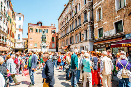 manin: Venice, Italy - May 18, 2016: Daniele square crowded with tourists in Venice. Venice i very popular tourist destination