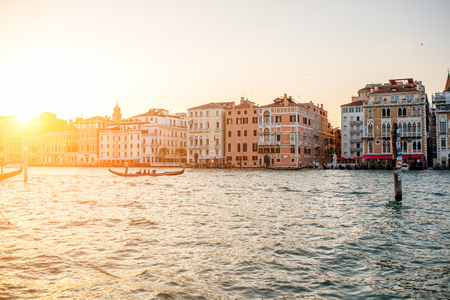 campanille: Venice, Italy - May 18, 2016: Venice cityscape view on Grand canal from Salute square at the sunset