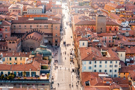 italian landscape: Aerial cityscape view from the tower on Bologna old town