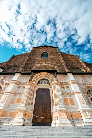 San Petronio church on the main square in Bologna city. It is the largest church built in bricks in the world.