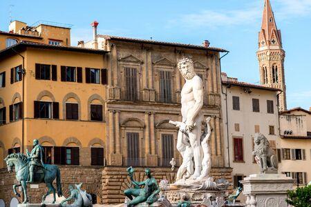 signoria square: Fountain of Neptune on Signoria square in Florence old town in Italy Stock Photo