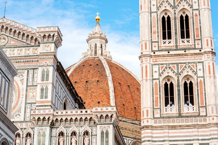 the view from below: Famous Santa Maria del Fiore cathedral church in Florence. Close-up view from below Stock Photo