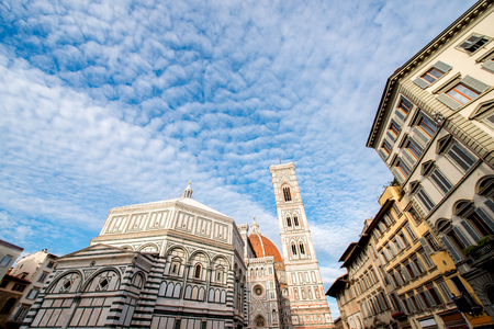 Famous Santa Maria del Fiore cathedral church with Baptistery in Florence. View from below Stock Photo