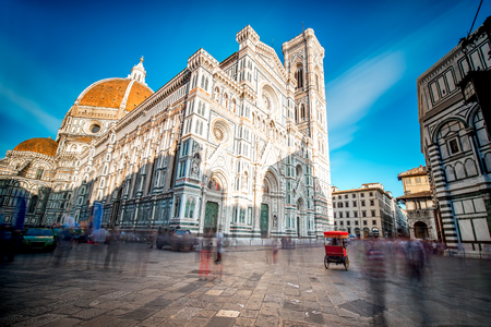 technic: Famous Santa Maria del Fiore cathedral church in Florence. Long exposure image technic, view from below