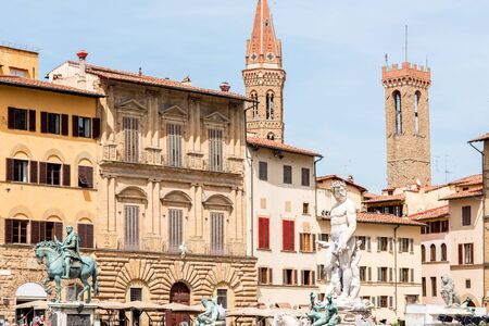 signoria square: Signoria square with fountain of Neptune in Florence old town in Italy