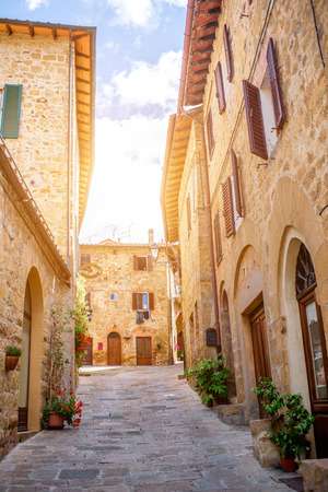 Street view in Montepulciano town in Tuscany region in Italy
