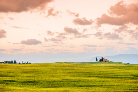 Beautiful tuscan landscape view in Val dOrcia region near Pienza town on the morning in Italy Stock Photo