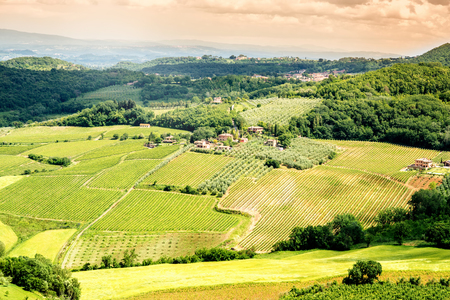 farmlands: Beautiful tuscan landscape view on the green meadow with farmlands near Montepulciano town in Italy