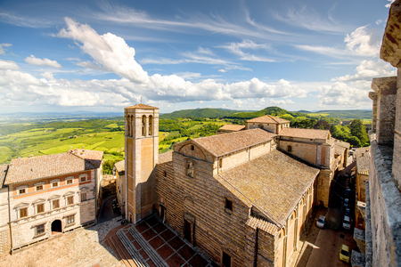 Beautiful cityscape view on Santa Maria Assunta cathedral on the main square in Montepulciano town in Italy Stock Photo