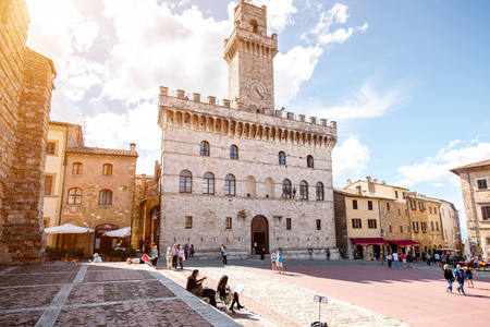 montepulciano: Montepulciano, Italy - May 30, 2016: Grande square with city hall in Montepulciano town in Tuscany region in Italy
