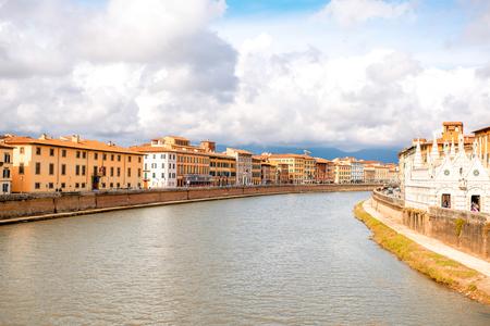 arno: Pisa cityscape view on Arno river with Santa Maria Della Spina church in Italy