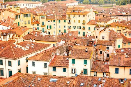 Aerial cityscape view on the old town of Lucca with Anfiteatro square in Italy Stock Photo