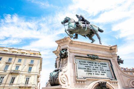 Turin, Italy - June 12, 2016: Alfonso Ferrero La Marmora monument on Bodoni square in Turin city in Piedmont region in Italy.