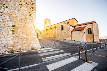 Cathedral of the Immaculate Conception in the Antibes village on the french riviera in France 版權商用圖片