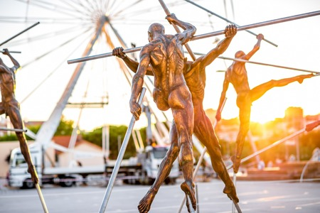 Antibes, France - June 14, 2016: Modern art sculptures on the Pre-des-Pecheurs esplanade in the old town. The area was renovated on 2014 and is popular for events Editorial