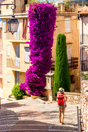 Woman walking near beautiful residential buildings and big flower bush in Cannes city in French riviera.