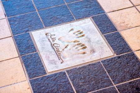 autograph: Cannes, France - June 14, 2016: Autograph and hand print of Julie Andrews on a clay tile near Film Festival Palace in Cannes Editorial