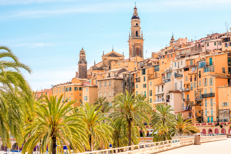 menton: Menton cityscape view on the french riviera in France