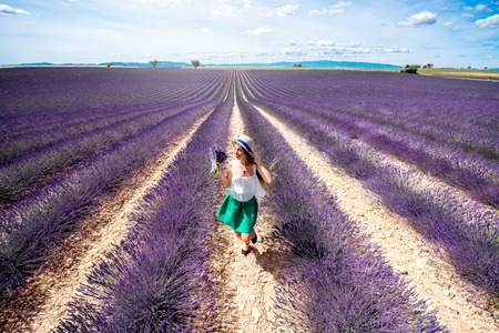 lavande: Landscape view with girl running on the lavender field in Provence Stock Photo