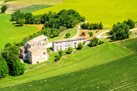 Top view on the green field with farm house in Provence in France
