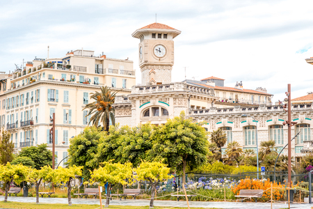 Nice, France - June 15, 2016: Cityscape view on the old town with clock tower in Nice on the south of France