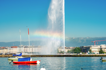 jet stream: Geneva, Switzerland - June 23, 2016: Jet dEau fountain in Geneva. It is a largest fountain in Geneva and is one of the citys most famous landmarks. Editorial
