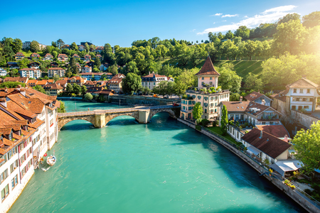 Cityscape view on the old town with river and bridge in Bern city in Switzerland