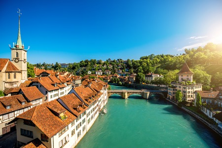 Cityscape view on the old town with river and bridge in Bern city in Switzerland Banco de Imagens - 66315504