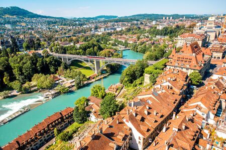 tramway: Beautiful aerial view on the old town with historical buildings in Bern city in Switzerland