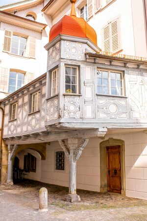 townhouses: Close-up view on the ancient house in Lucerne old town in Switzerland