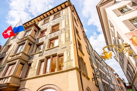 wolfgang: Lucerne, Switzerland - June 27, 2016: View on the builidings with two-headed eagle emblem in the old town of Lucerne city in Switzerland Editorial