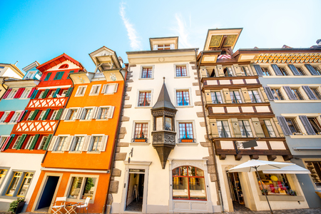 Beautiful colorful buildings in Zug village near Zurich city in Switzerland. Typical historical swiss architecture