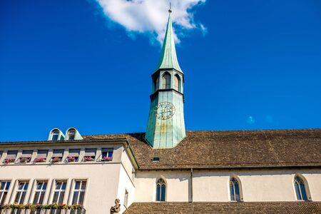 Spire of Augustine church in Zurich city in Switzerland