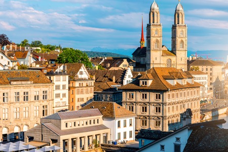 Zurich cityscape view with Great Minster church in Switzerland Stock Photo