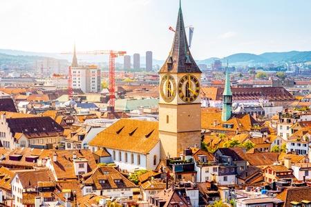 Aerial view on saint Peter church in Zurich city in Switzerland