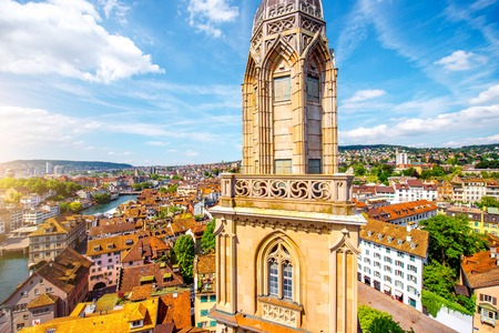 View on the tower of Great Minster church and beautiful cityscape on Zurich old town Stock Photo