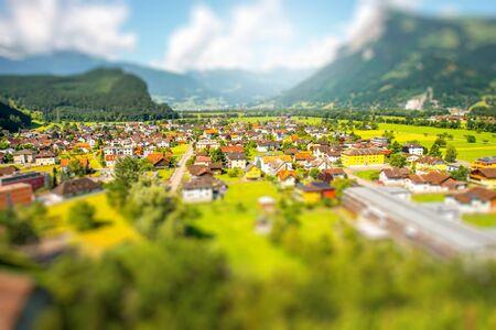 Landscape view on Balzers village in Liechtenstein. Panoramic view with tilt-shift image technic