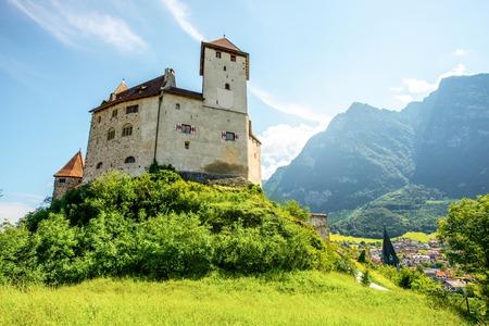 Balzers, Liechtenstein - July 01, 2016: Landscape view on Gutenberg castle in Balzers town at the morning