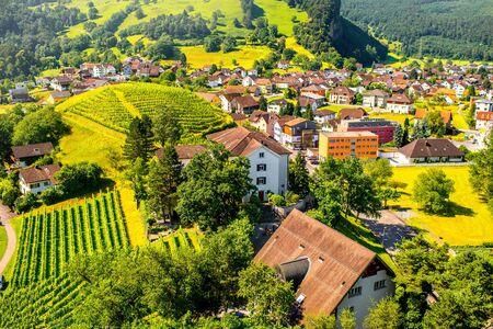 gutenberg: Landscape view on Balzers village in Liechtenstein