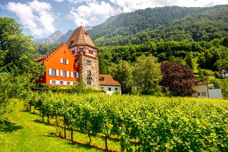 family owned: Vaduz, Liechtenstein - July 01, 2016: Famous red house with wineyard owned by the Rheinberger family in Vaduz city, Liechtenstein. This house is very popular tourist attraction in Liechtenstein