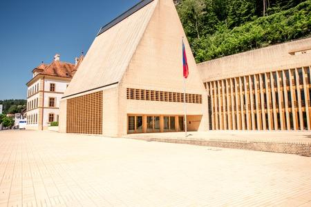 Vaduz, Liechtenstein - July 01, 2016: Parliament building designed by Hansjoerg Goeritz Architecture studio and was built in 2008 in Vaduz, Liechtenstein.