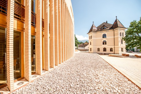 parliaments: Vaduz, Liechtenstein - July 01, 2016: Parliament and government building in Vaduz city, Liechtenstein.