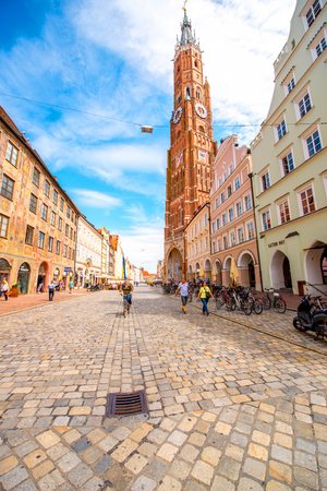 Landshut, Germany - July 04, 2016: Cityscape view with saint Martin cathedral in the center of Landshut old town in Germany